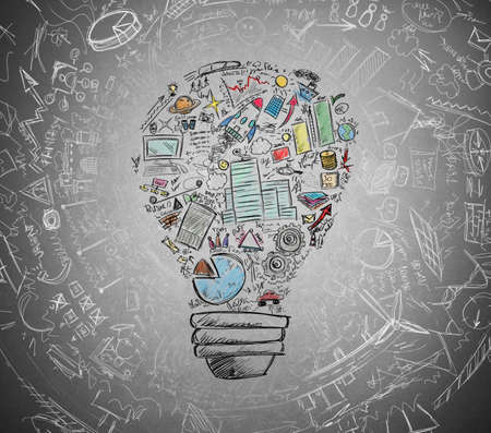 energy management: Drawn light bulb with many business symbols