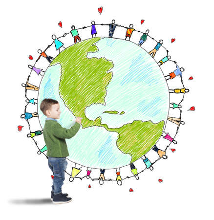 Child draws world with people holding hands Stock Photo