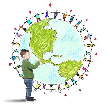 respetar: El niño drena mundo con la gente de la mano Foto de archivo