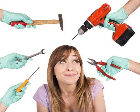loco: Muchacha asustada de herramientas locos de dentista Foto de archivo
