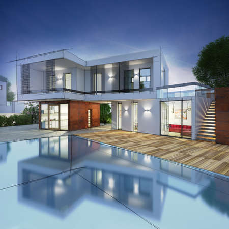 3D rendering: Project for a villa with drawn contours