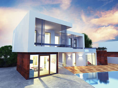contemporary: Project of a luxury villa under construction