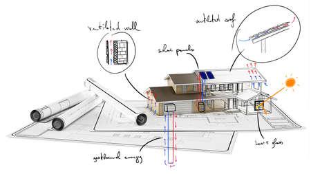 Plan de en el papel de la casa en construcción Foto de archivo - 45234759