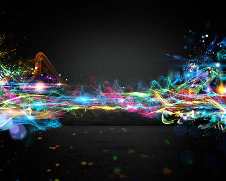 electronic music: Background of bright colored and brilliant trails