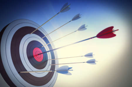 hit: Target hit in the center by arrow