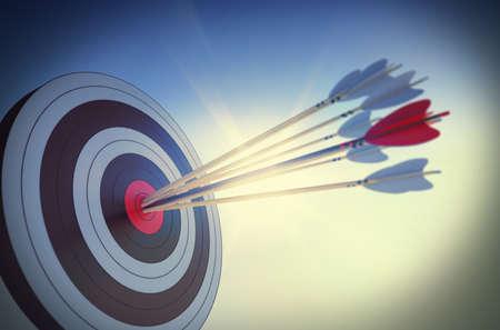 concept: Target a frappé dans le centre par des flèches