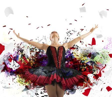 graceful: Dancer posing with a spectacular artistic effects