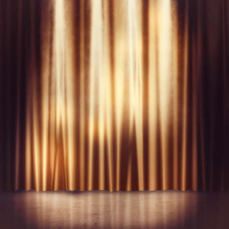 intermission: Background of golden curtains of a stage