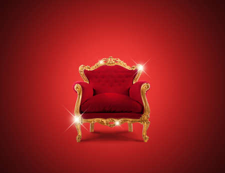 royalty: Luxury sparkling golden armchair and red velvet