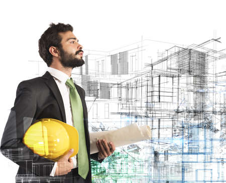 Architect with helmet and roll construction project