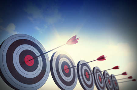 Targets hit in the center by arrows Stok Fotoğraf - 45342532