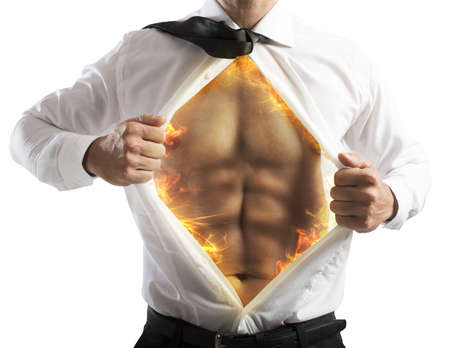 invincible: Businessman opens shirt with abs of fire