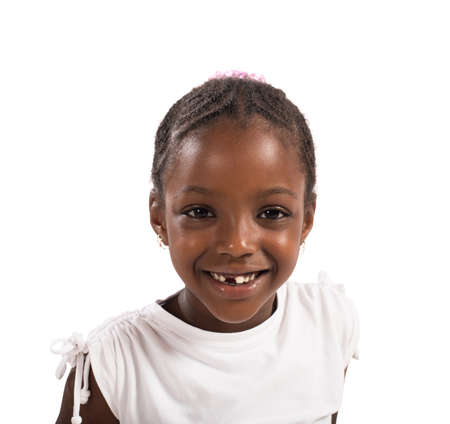 beautiful girl face: Portrait of a happy little girl smiling