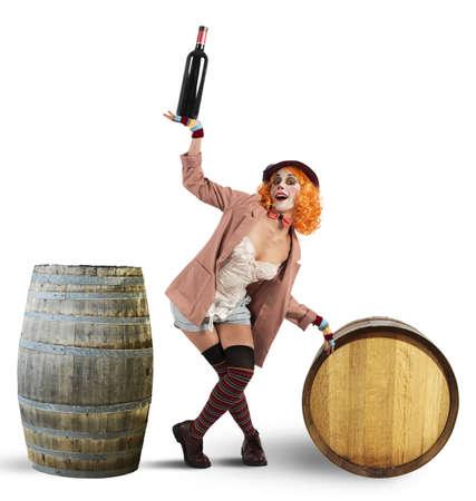 drunk woman: Drunk clown between wine bottles and barrels