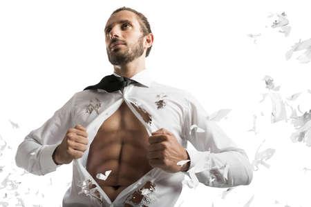 opens: Businessman opens shirt as a muscular superhero Stock Photo