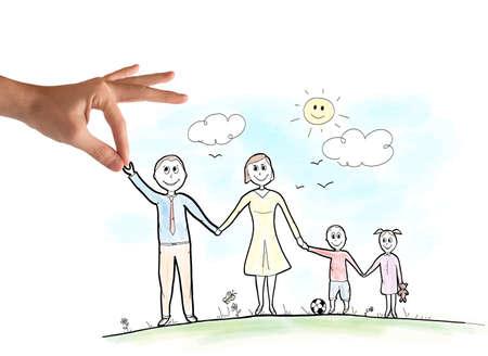 맑은 날에 행복한 가족 스케치