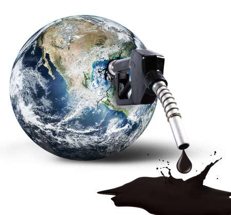 mundo contaminado: Concepto de la Tierra de combustible da�os proporcionada NASA