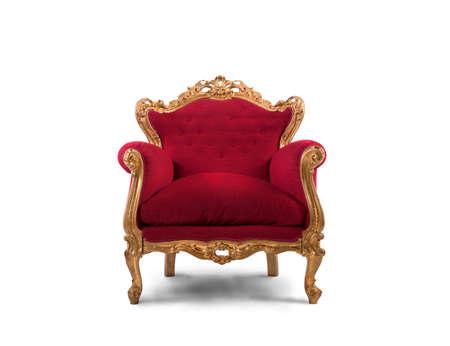 koncept: Begreppet lyx och framgång med röd sammet och guld fåtölj Stockfoto
