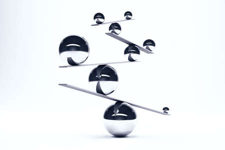 imbalance: Iron balls in perfect balance on boards