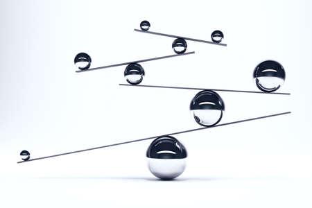 完璧なバランスのボード上で鉄球 写真素材 - 46020101