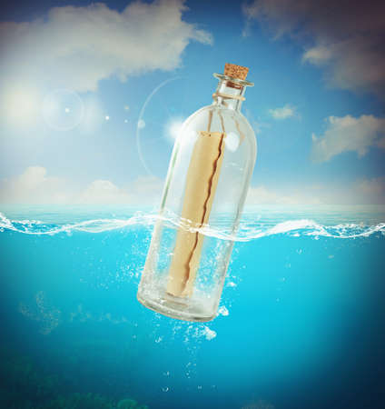 messages: Letter in a bottle in the sea