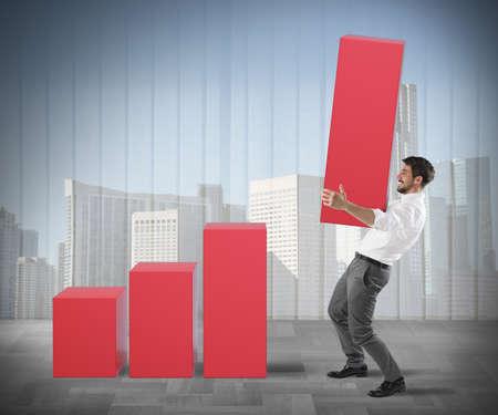 raises: Businessman raises a big step of statistic Stock Photo