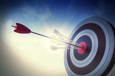 koncept: Target träffad i centrum med pilar