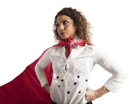 mujer trabajadora: Fuerte e invencible empresaria alcanzados por balas Foto de archivo