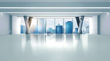 corporate building: Office of a skyscraper with city view Stock Photo