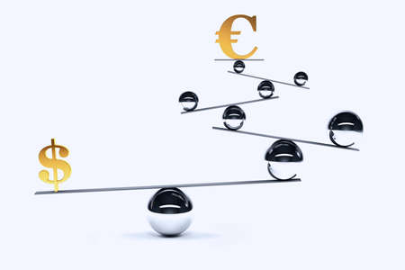 imbalance: Symbol of euro and dollar in balance