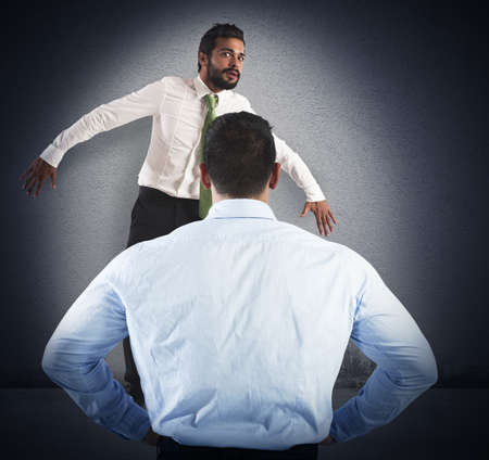 authority: Man frightened by his severe big boss Stock Photo