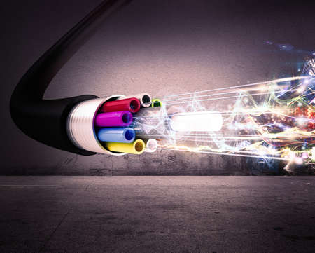 internet servers: Image of an optical fiber with lights