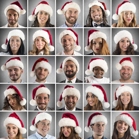 smiling faces: Collage of people with Santa Claus hat
