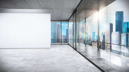 Office in a skyscraper with urban view Stock Photo