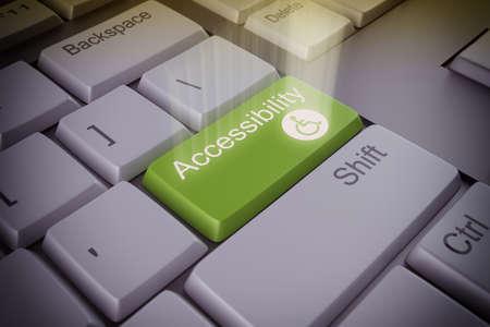 Computer toetsenbord met een toegankelijkheid groene toets Stockfoto