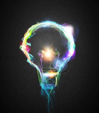 Light bulb drawn with colourful lighting effects