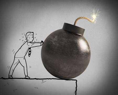 pushes: Sketch of businessman pushes a big bomb