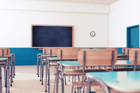 Empty school classroom with desks and chairs