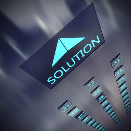 Imagen de un ascensor con una solución por escrito Foto de archivo - 47016138