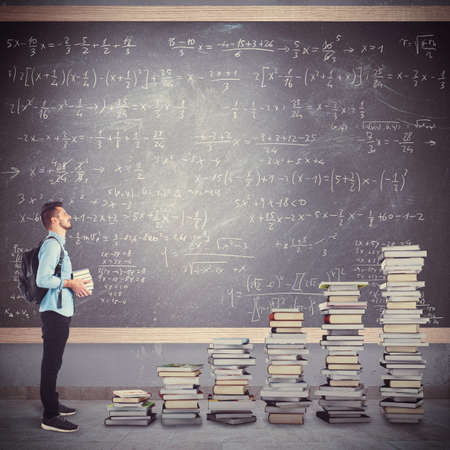 teacher student: Student boy with backpack with scale books
