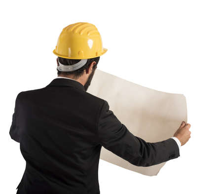 architect: Architect analyzes a project of a building Stock Photo