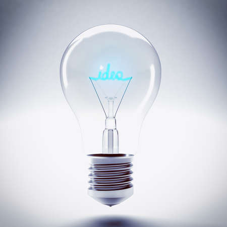 filament: Bulb with the word idea blue filament Stock Photo