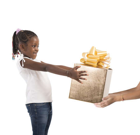 unexpected: Excited little girl receives an unexpected present