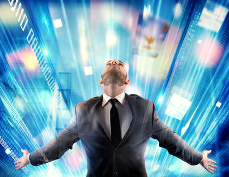 network people: Man with arms outstretched on colorful background