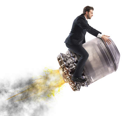 missile: Determined businessman over a missile flying high