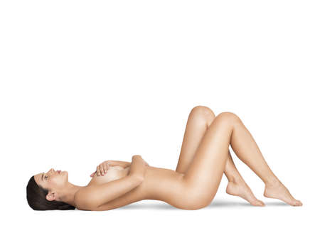 naked silhouette: Sensual naked woman lying on the ground