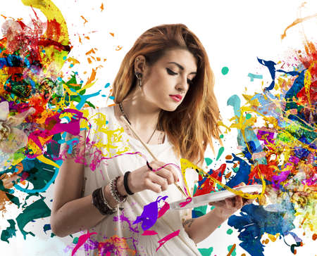 Creative woman painter with brush and palette Stockfoto