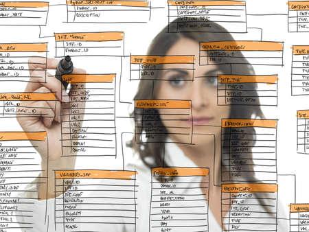 diagrama de flujo: La empresaria trabaja en el desarrollo de software de bases de datos Foto de archivo