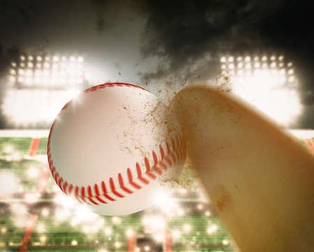 spectator: Ball and bat baseball during a match