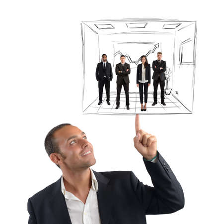 and simplicity: Executive operates with simplicity his business team Stock Photo